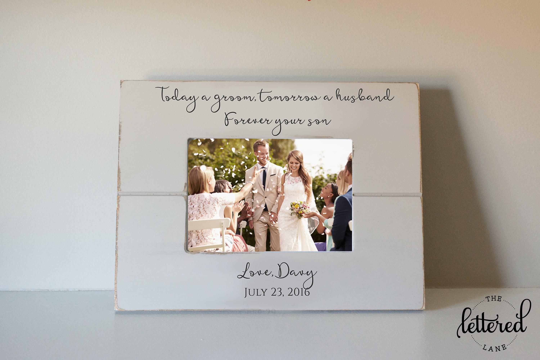 Des Bräutigams Eltern Geschenk Rahmen heute einen Bräutigam