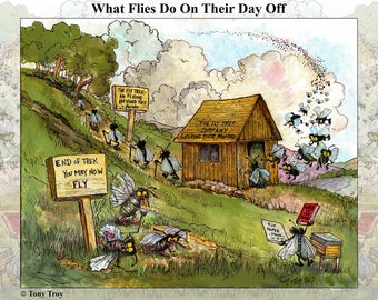 What Flies Do on their Day Off - 12x18 Poster by Tony Troy