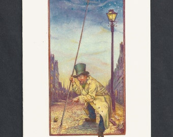 The Old Lamplighter Blank Greeting Card by Tony Troy