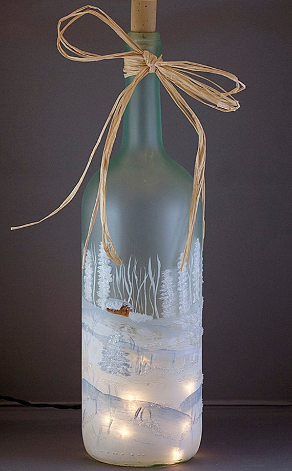 image 0 Hand Painted Lighted Wine Bottle