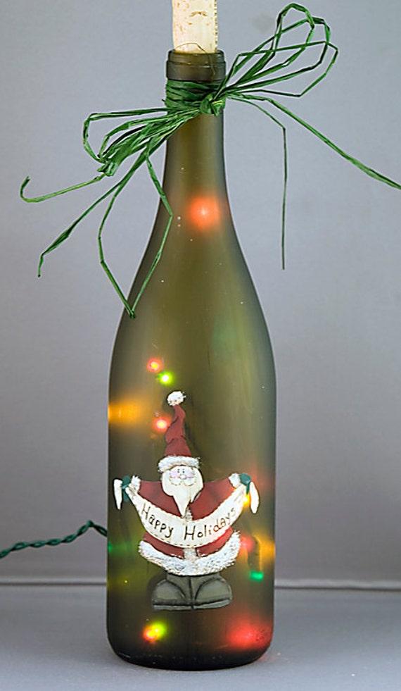 image 0 Santa Claus Lighted Wine Bottle