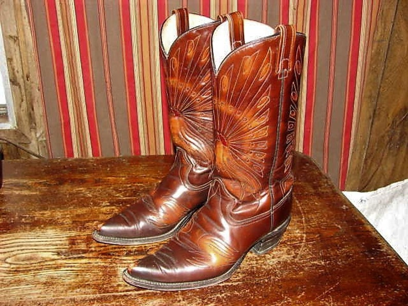 Mens Texas Brand Peacock Cowboy Boots Size 10 1/2 in Great Condition