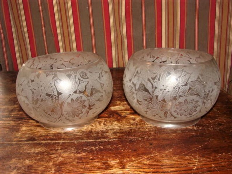 Gorgeous Matching Pair of Frosted and Etched Gas Fish Bowl Shades from the Late 1800/'s in Fine Condition ~ Clematis Vines Etching