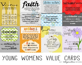 Young Womens Values, young living cards, lds young womens values,  young women opening exercises, digital prints, lds young women