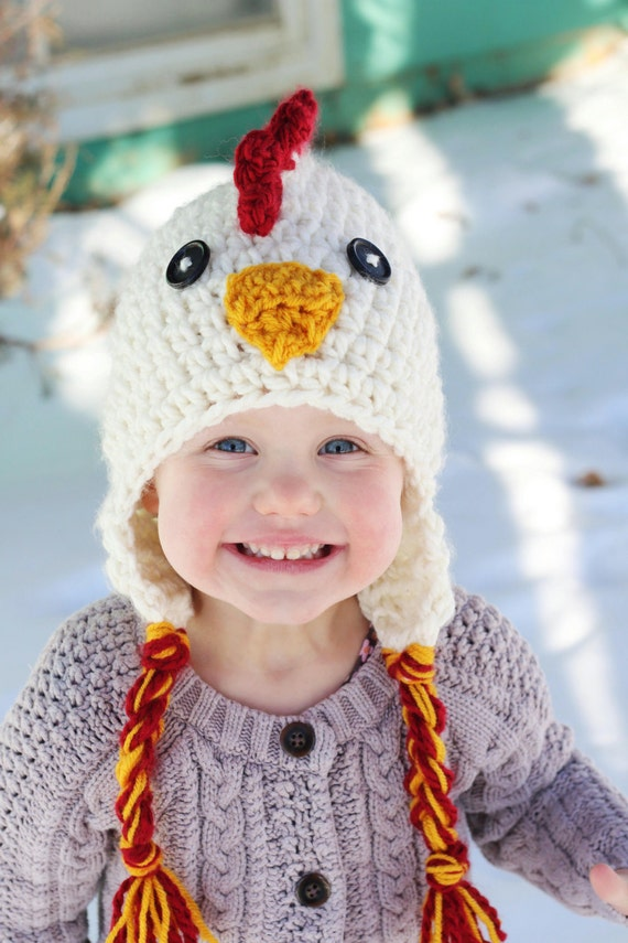 Chicken Hat PDF Crochet Pattern photo prop winter hat  d8ff4c3cd6a