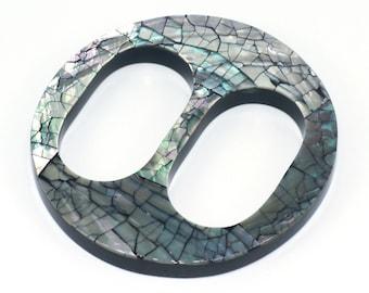 Piercing nombril bague du ventre en acier chirurgical coeur abalone  Abalone shell with 1.6mm 316L surgical steel pin