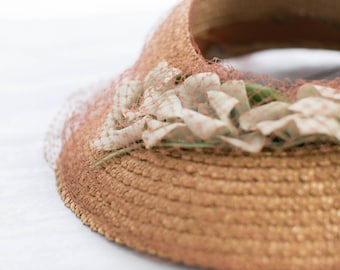 1940s Straw Sun Hat - HANDWOVEN Millinery Floral Summer Bonnet Country Shabby Antique Woven Straw Hat - Prairie Easter SunBonnet Straw Visor