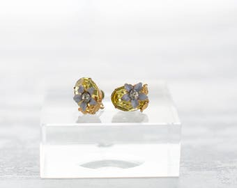 Vintage Simulated Citron Glass Rhinestones Screw Back Earrings/Crystal Earrings/1960s - Enamel Foral Flowers Oversize Statement Jewelry