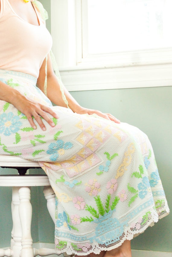 1970 Designer Hand Crochet Skirt -  Silk Lining, P