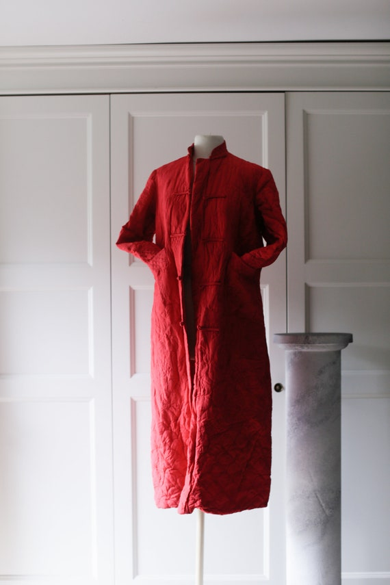 QUILTED 40's KIMONO ROBE - Red Embroidered Shangai