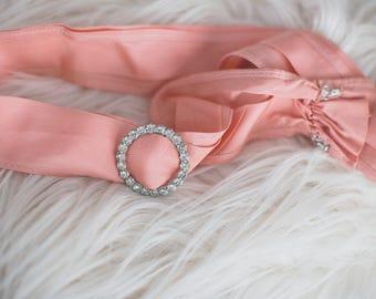 Cute Vintage Formal Belt, Size 26 inch waist. Slide Rhinestone Belt Pink Bridesmaid Dress Belt Vintage Rhinestone Belt