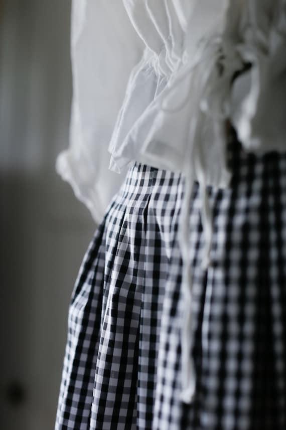 SILK PLAID MAXI Skirt - Med / Size 4 | Black Check