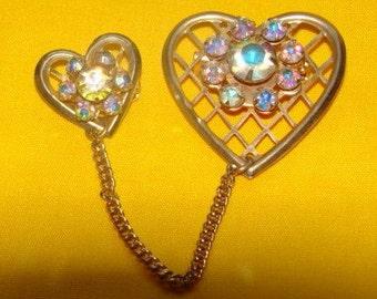 Vintage Gold Tone Double Heart Brooch with Rhinestones Screams Retro