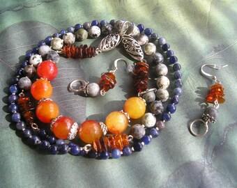 PERSICA Long Gemstone Necklace and Earrings Set Carnelian Jasper Sapphire Red Amber