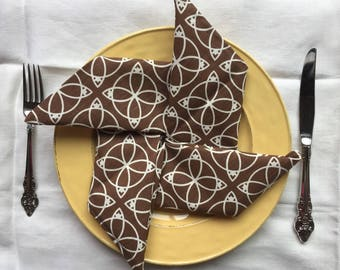 Set of 3 Vintage Cloth Dinner Napkins   - never used