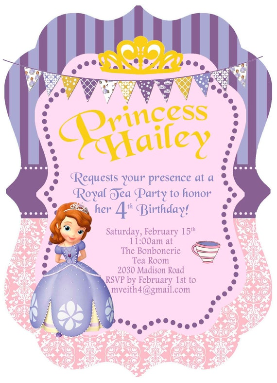 5x7 Disney Princess Sofia The First Birthday Invitation