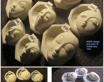 YOUR CHOICE - Flexible Food Grade Silicone Push Press Molds of Round Oval Sun Moon Doll Face Cabs