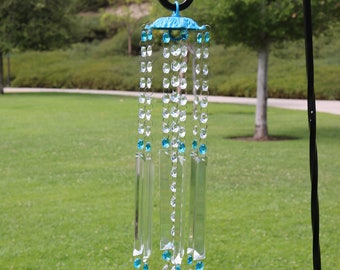 Large Crystal Prism Windchime, Glass Wind Chime, Aqua Bliss