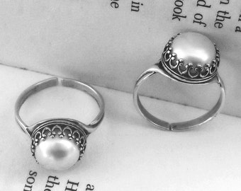 Sterling Silver Pearl Ring, Freshwater Pearl, Round Solitaire, Ivory White Pearl Ring, Natural Pearl Ring, Pearl Jewelry, Victorian Ring