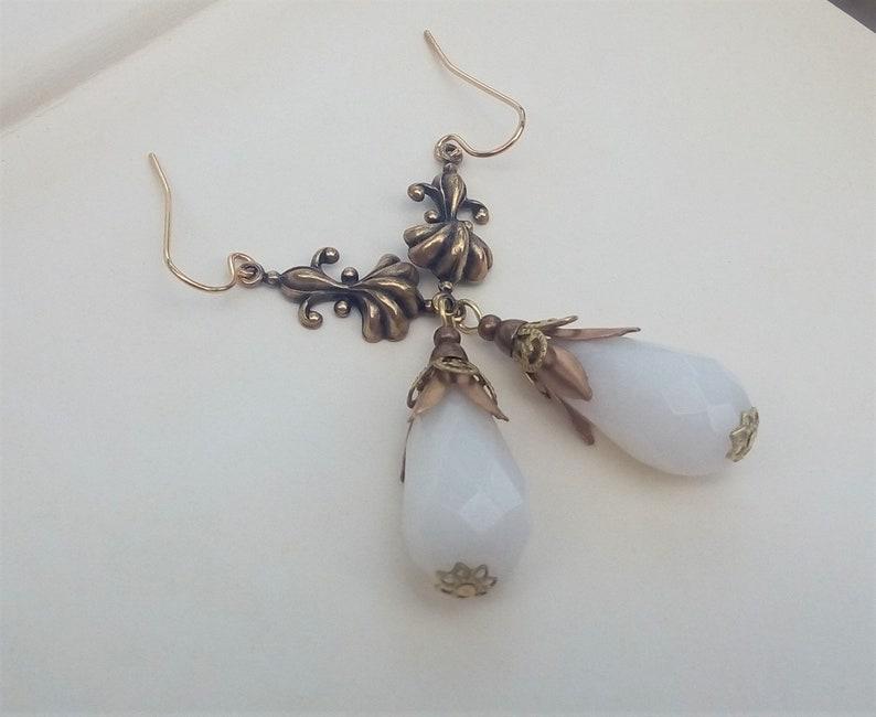 Gold Filigree Earrings White Victorian Earrings Renaissance Jewelry Antique Brass Vintage Style Jewelry White Jade Teardrop Earrings