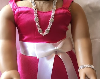 """UNIQUE Fancy Matching set  American Girl 18 """" inch Doll Necklace and Bracelet Jewelry Accessories"""