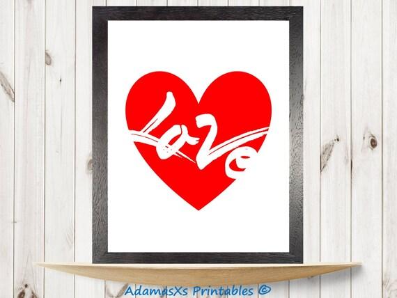 Amor De Corazón Para Imprimir Imprimir Corazón Rojo Cartel Etsy