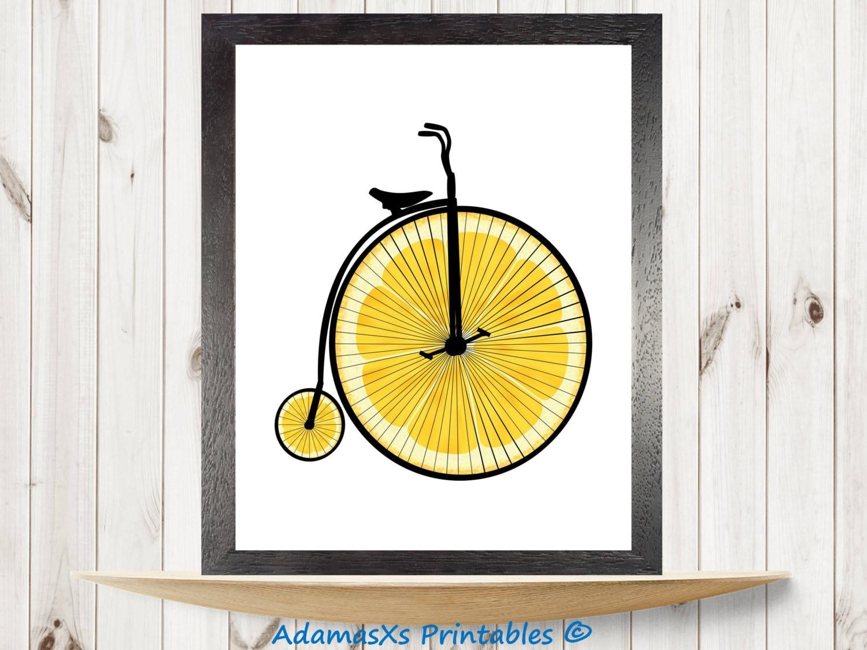 Bicycle printable Lemon print Food printable Bike print | Etsy