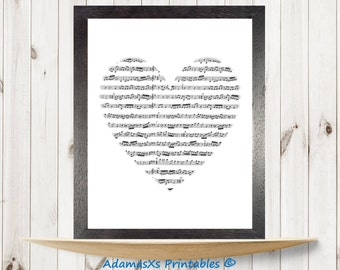 Musical notes printable, Heart Printable, *Custom special size A3*, Black and white prints, music printable art, Romantic print,Music poster