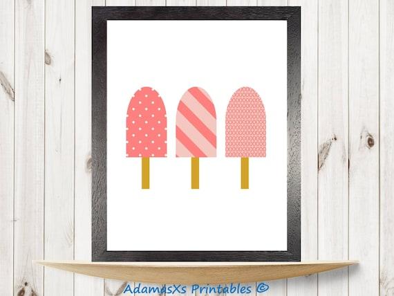 Paletas helados para imprimir color rosa coral impresión   Etsy