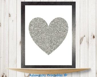Silver heart print, Heart print, Love print, Valentines day, heart art, nursery heart silhouette, glitter heart decor, Love printable art