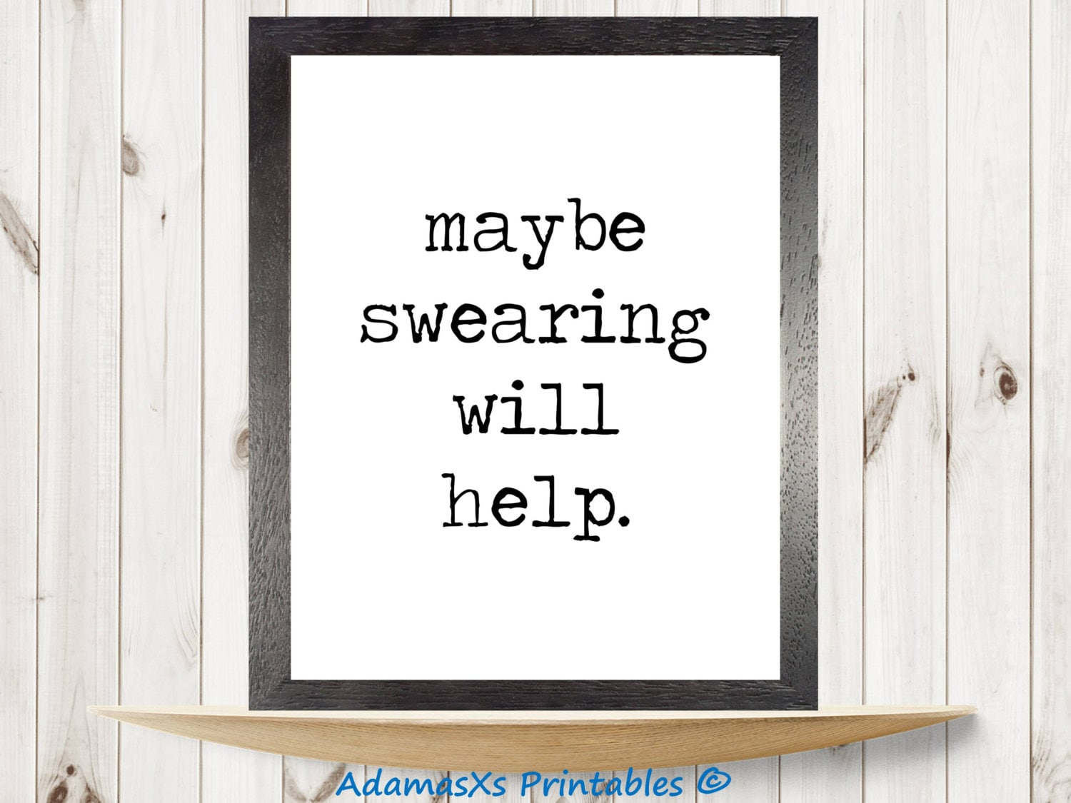 maybe swearing will help printable black and white quotes   etsy