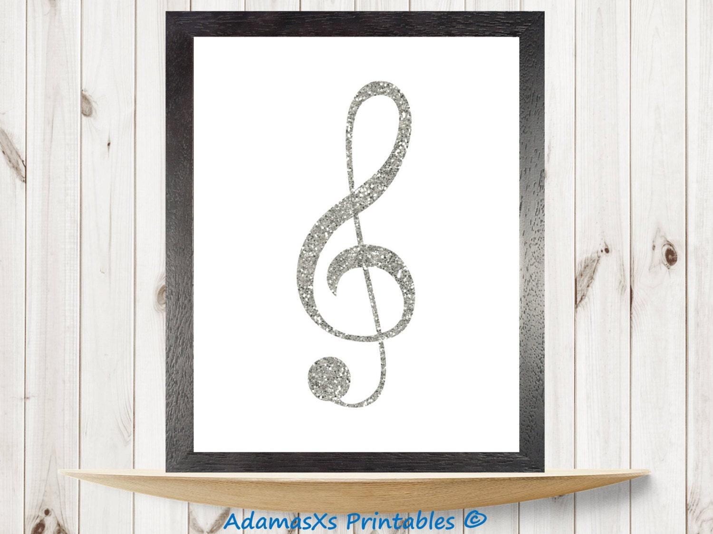 treble clef music notes printable silver glitter print