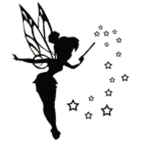 tinkerbell silhouette 14 count cross stitch chart kit