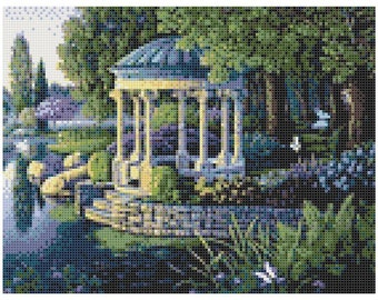 Giardino magico 14 Count Cross Stitch Chart / Kit