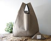 Unisex tote bag handmade / cotton lunch bag taupe color / lunch bag for men / minimal bag united color / valentines day gift for him