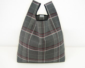 Tartan tote bag handmade with gray squared cotton / shopping bag edged in black ribbon / triangle fold elegant style