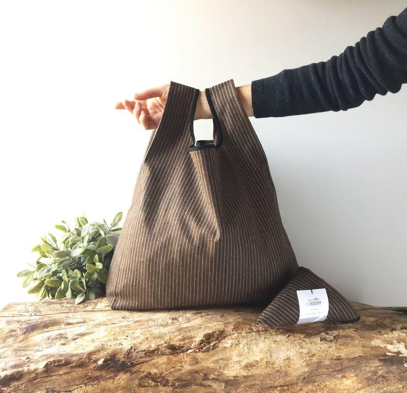 c2b1fb5b263841 Pinstripe grocery bag handmade with pure wool brown color