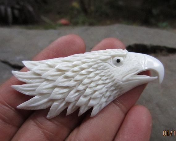 Sale Hand Carved Eagle Head Carve Buffalo Bone Cabochon Etsy