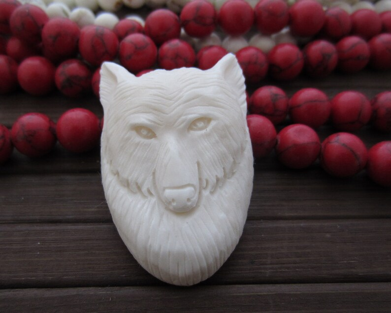 Buffalo bone carving Intricate carved Wolf Bovine Jewelry making Supplies S6358