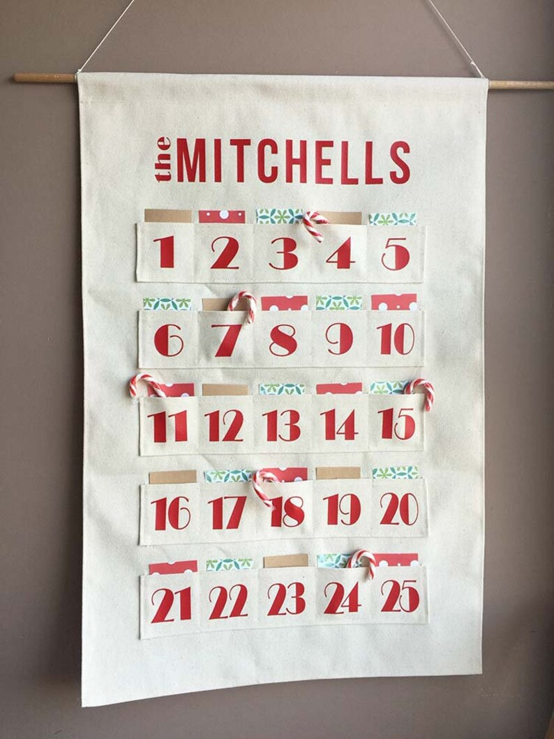 Personalised Advent Calendar  Holiday decoration  Red and image 0