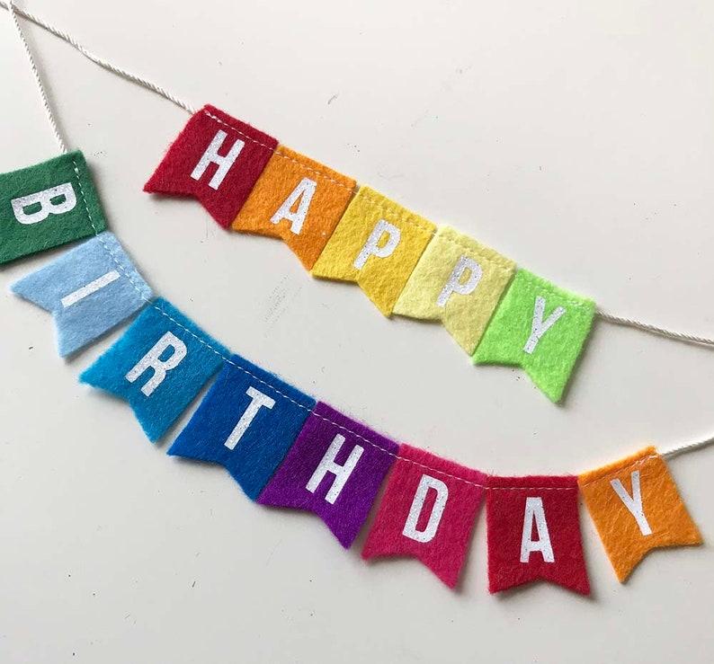 Rainbow Happy Birthday Cake Bunting Topper