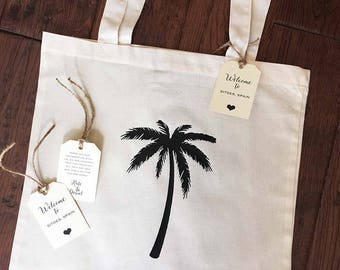 Palm Tree Tote Bag - Personalized Welcome Tote and Gift Tag - Bachelorette Gift bag - Destination Wedding