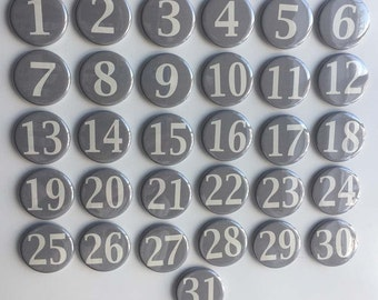 Charcoal Grey Monthly Calendar Magnets - Days of the Month - Perpetual Calendar - numbers 1-31