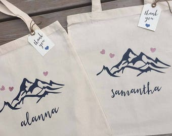 Mountain Tote Bag - Personalized - Wedding Shower Tote -  gift bag