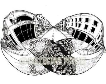 "Carpet Moebius - 13"" x 19"" Architectural Art Print"