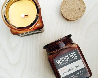 MOUNTAIN PINE Amber Glass Apothecary Cork Topped Jar Wood Wick Soy Candle 8.5oz Perfect Gift- Woodfire Candle Co