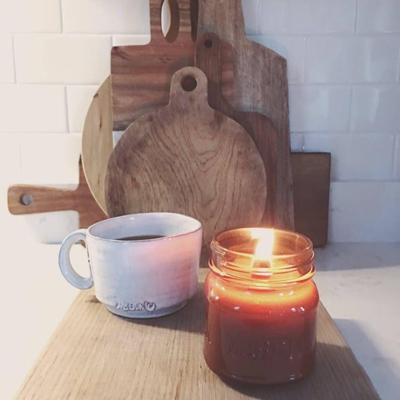 Amber Wood Wick Mason Jar Soy Candle 8oz Woodfire Candle ...