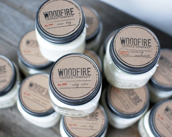 PICK 3 Wood Wick Mason Jar Soy Candle - Woodfire Candle Co