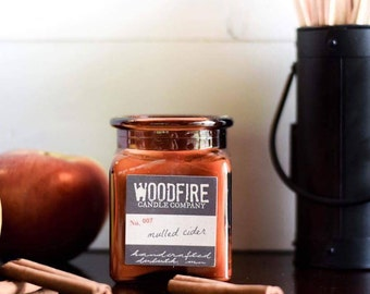 MULLED CIDER Amber Apothecary Cork Topped Jar Wood Wick Soy Candle Gift Packaging Cotton Bag- Woodfire Candle