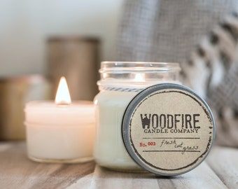 FRESH CUT GRASS Wood Wick Mason Jar Soy Candle Woodfire Candle Co